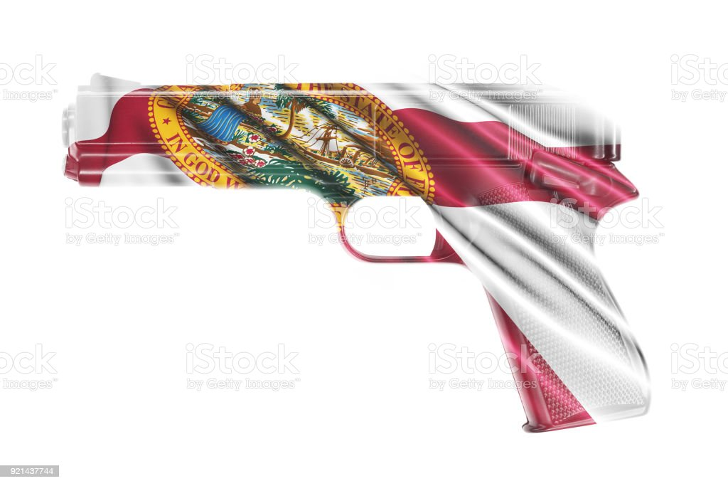 Gun wrapped in the Florida state flag stock photo
