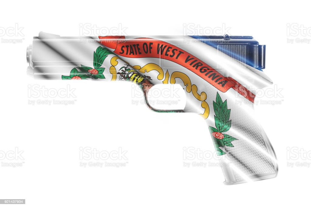 Gun wrapped in the West Virginia state flag stock photo