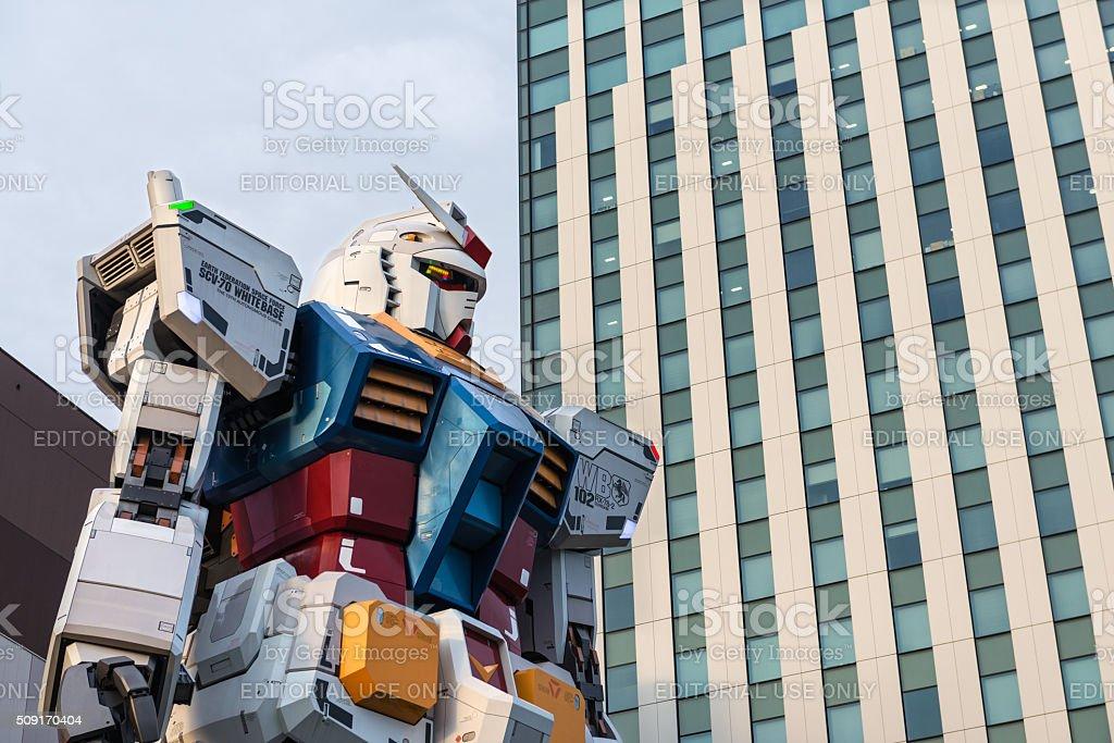 Gundam giant statue in Odaiba, Tokyo stock photo