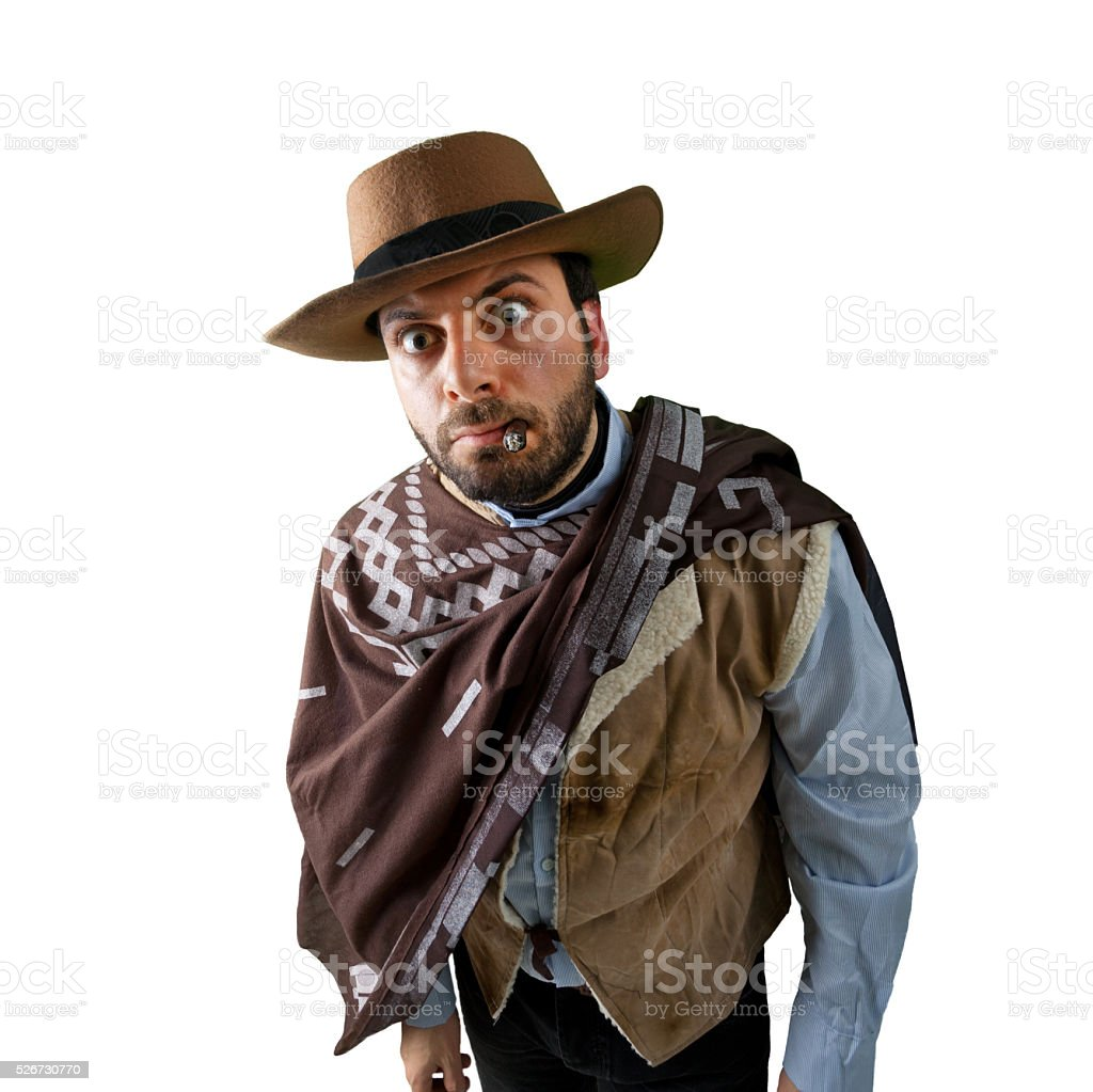 WOW Gunfighter in the old wild west stock photo