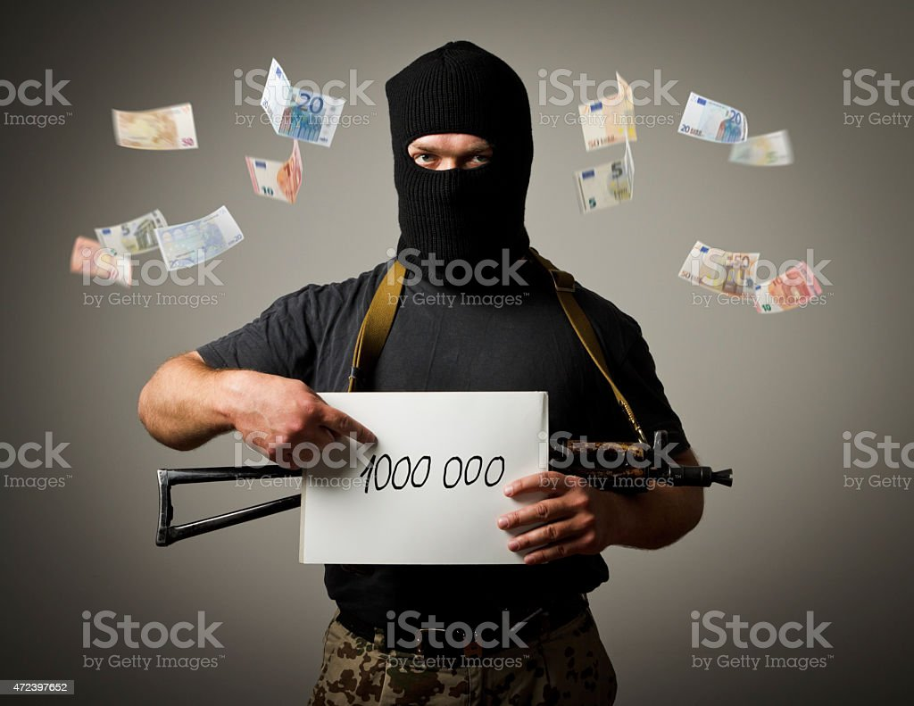 Gunman and one million euro. stock photo