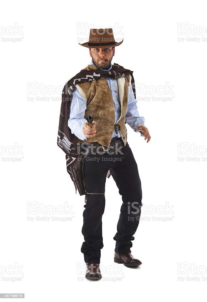 Gunman in the old wild west on white background stock photo