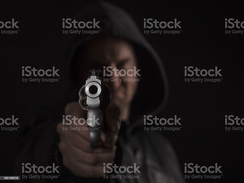 Gunman with  .357 magnum stock photo