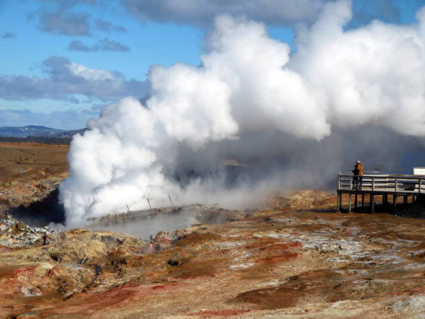 Gunnuhver, Steam and Mud Pools,  Iceland stock photo