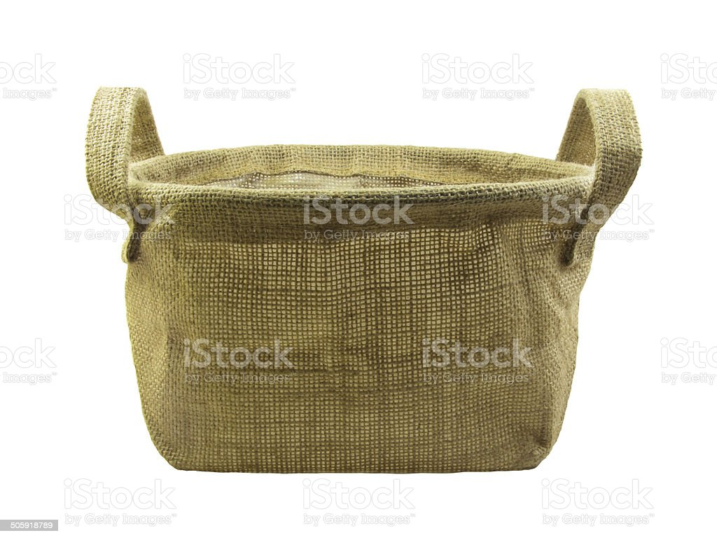 Gunny basket  with handle on white background royalty-free stock photo