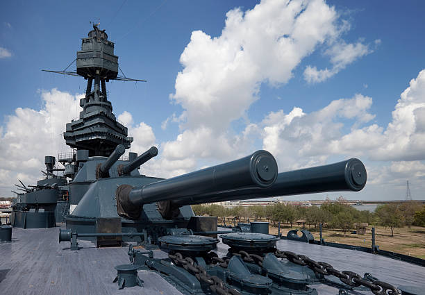 Guns 14 inch of the Battleship Texas stock photo