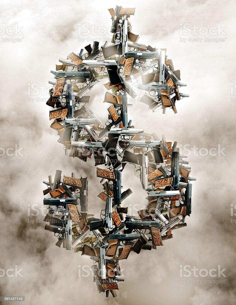 guns and dollar sign stock photo