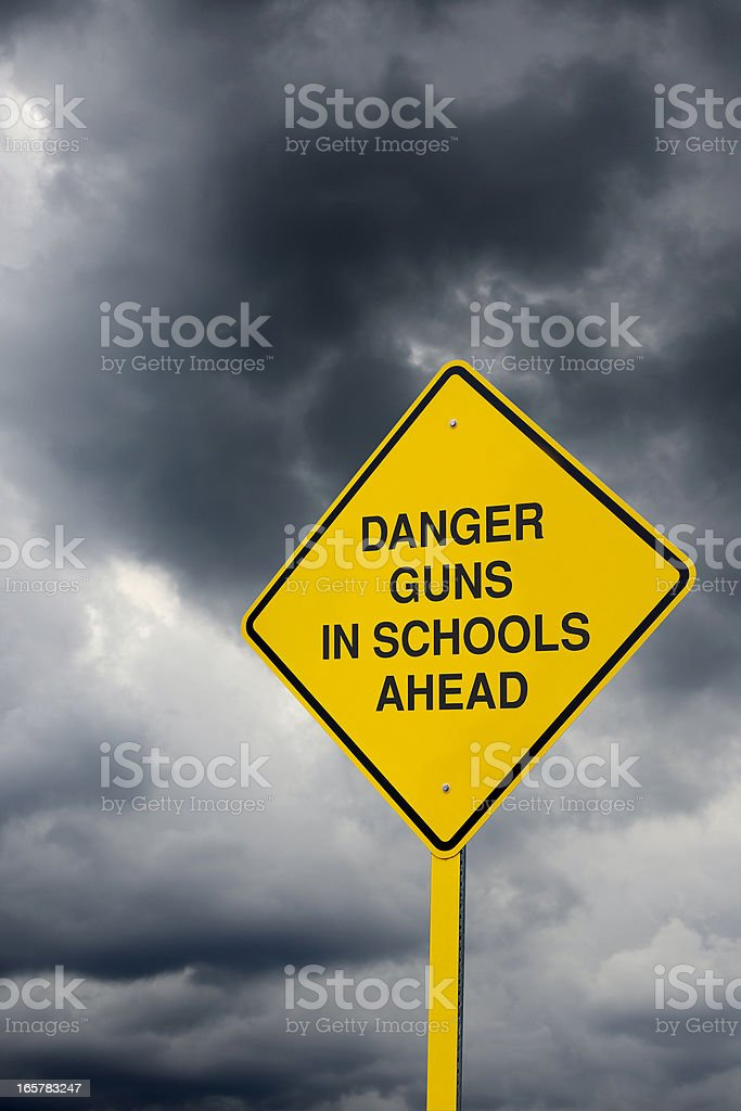 Guns in Schools Road Sign royalty-free stock photo