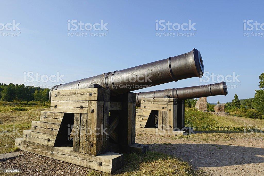 Guns of Bomarsund fortress royalty-free stock photo