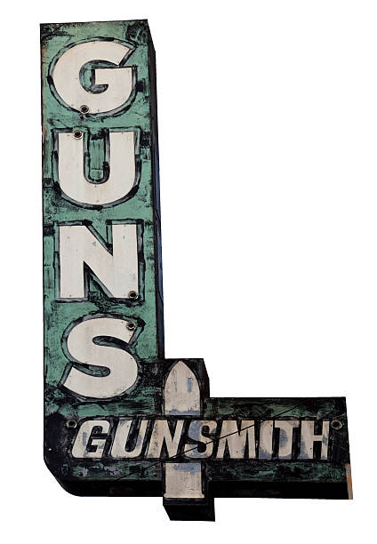 Guns Sign Isolated GUNS Sign. White background. Vertical. gun shop stock pictures, royalty-free photos & images