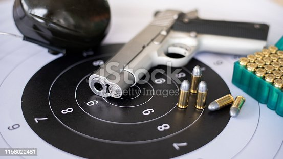 istock Guns with ammunition on paper target shooting   practice 1158022481