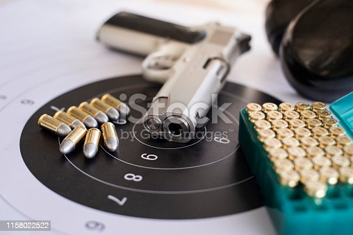 istock Guns with ammunition on paper target shooting   practice 1158022522