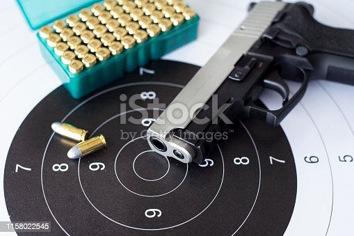 istock Guns with ammunition on paper target shooting   practice 1158022545
