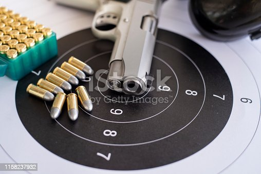istock Guns with ammunition on paper target shooting   practice 1158237932