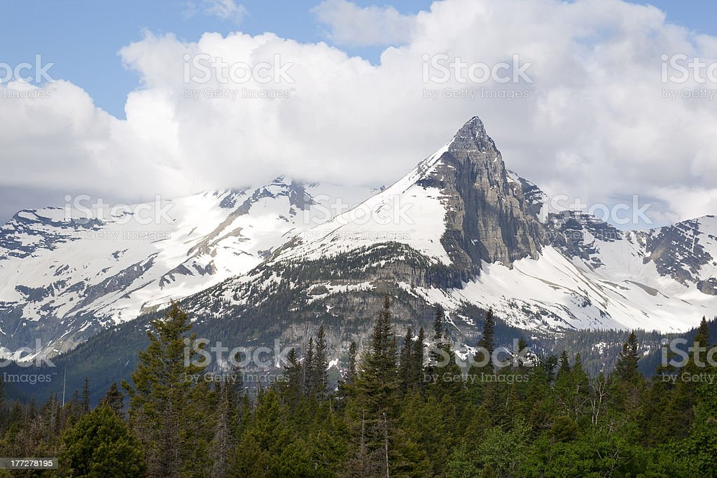 Gunsight Mountain in Glacier National Park royalty-free stock photo