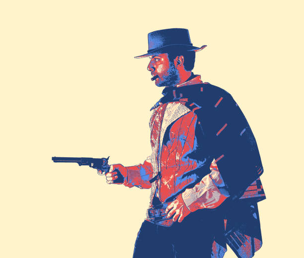 Gunslinger, vintage game style. Gunslinger of the old west. Vintage game style. bandit stock pictures, royalty-free photos & images