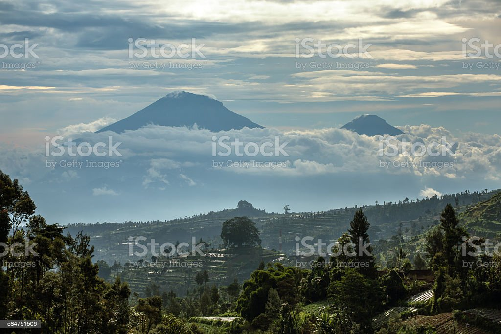 Gunung Sumbing and Sindoro volcanoes on Java, Indonesia stock photo