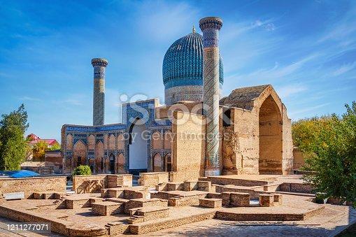 Gur-e-Amir Mausoleum - Amir Temur Mausoleum and Timur Tomb where the famous conqueror Timur also known as Tamerlane was buried under blue summer sky. Samarkand, Silk Road, Uzbekistan, Central Asia