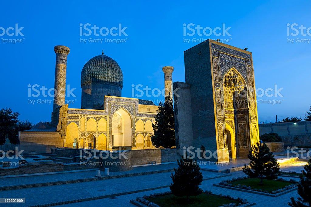 Guri Amir Mausoleum at night, Samarkand stock photo