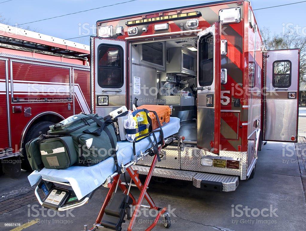 Gurney & Paramedic Truck royalty-free stock photo