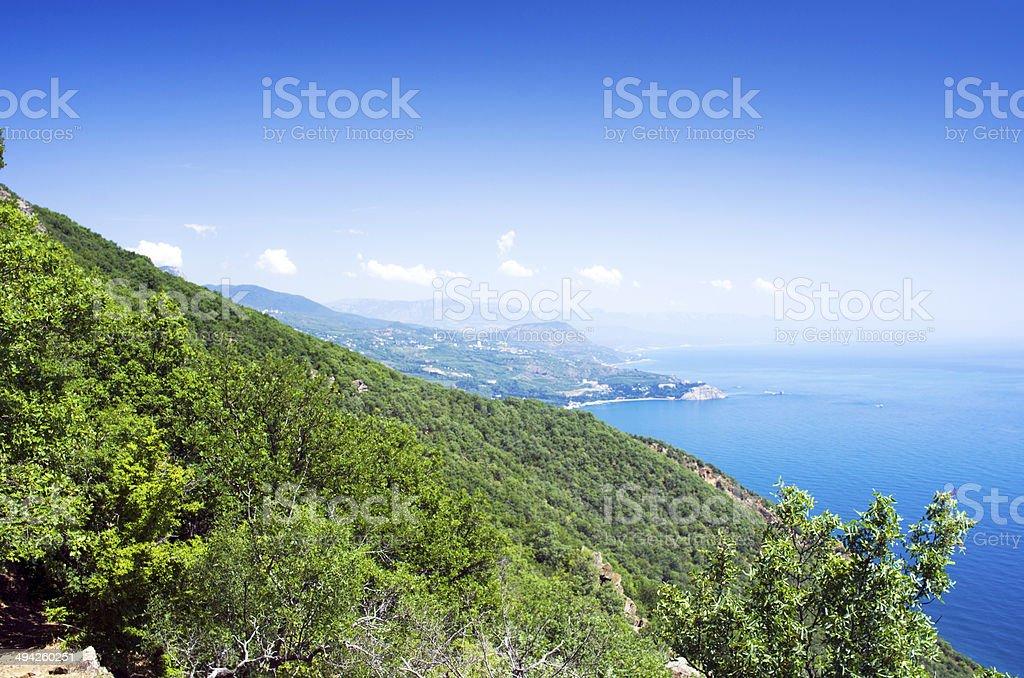Gurzuf and Ayu Dag mountain. Crimea. Ukraine stock photo