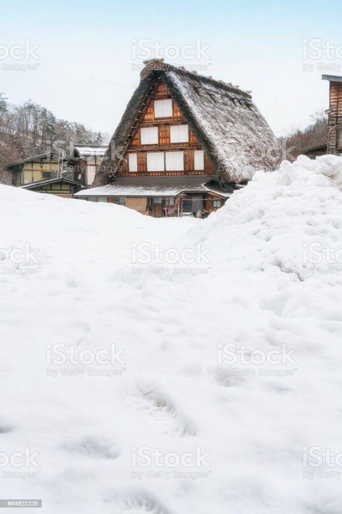 Gussho house at Historic villages Shirakawago at winter time stock photo