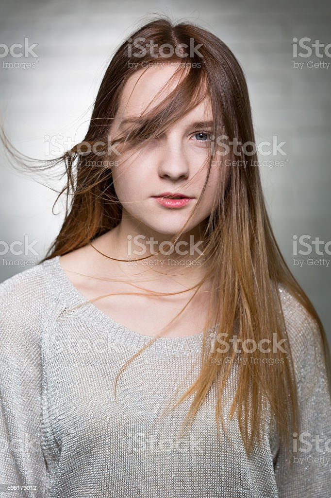 Gust of wind on her face foto royalty-free