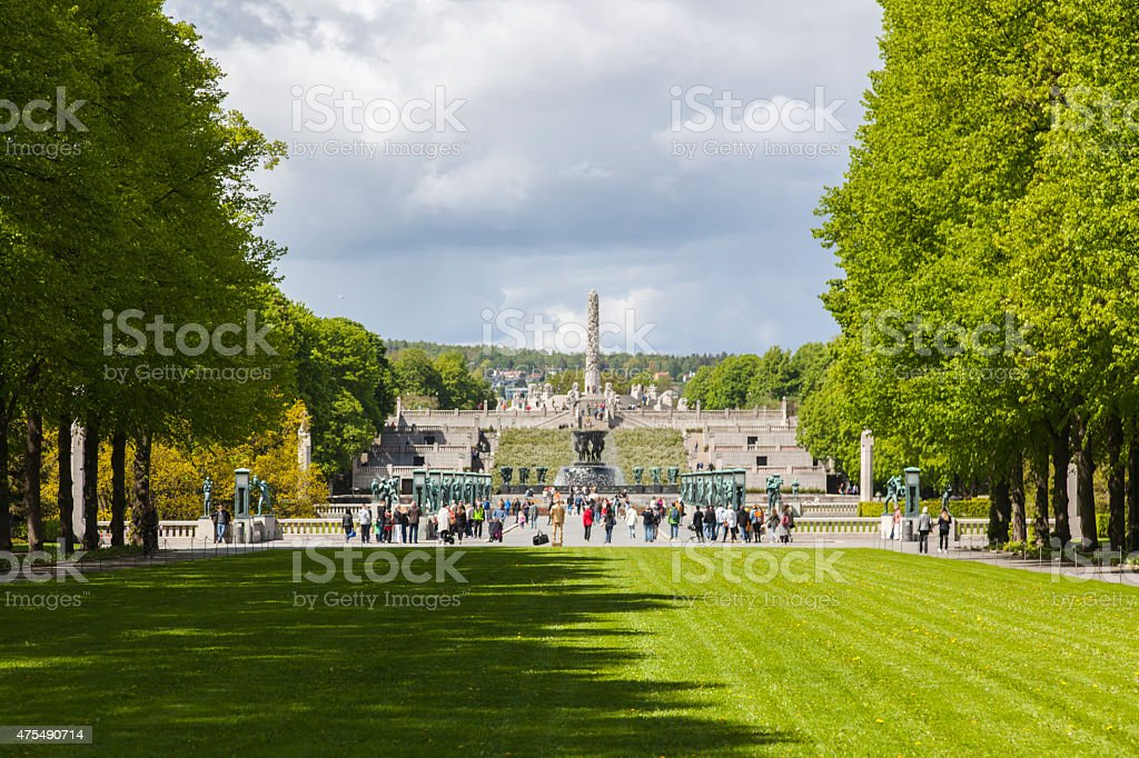 Gustav Vigeland's park with green trees and lawn in May. stock photo