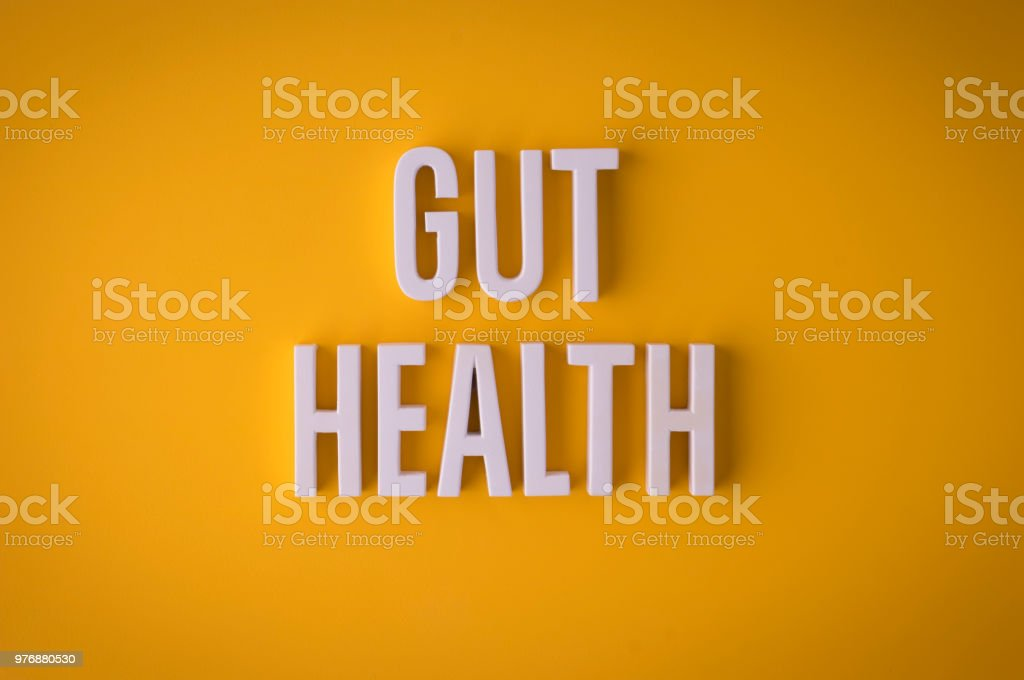 Gut Health lettering sign stock photo