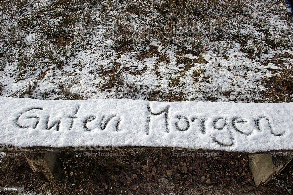 Guten Morgen In Schnee Geschriebenwritten Good Morning In