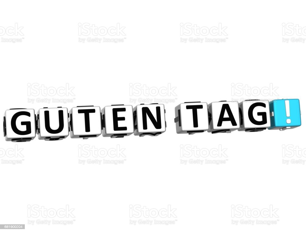 3D Guten Tag block text on white background stock photo