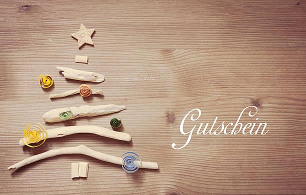 gutschein-gutschein in deutsch - gutschein weihnachten stock-fotos und bilder
