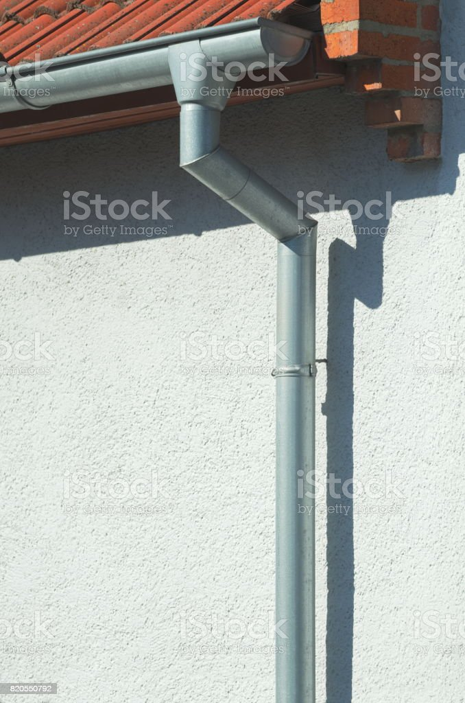 Gutter on a House stock photo
