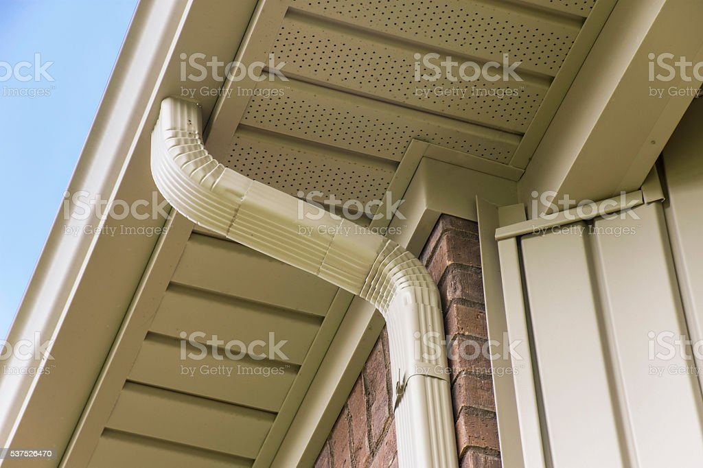 Gutter on Roof stock photo