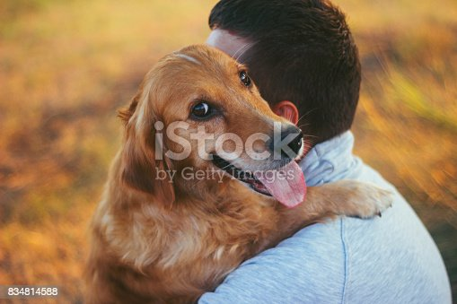 istock Guy and his dog, golden retriever, nature 834814588