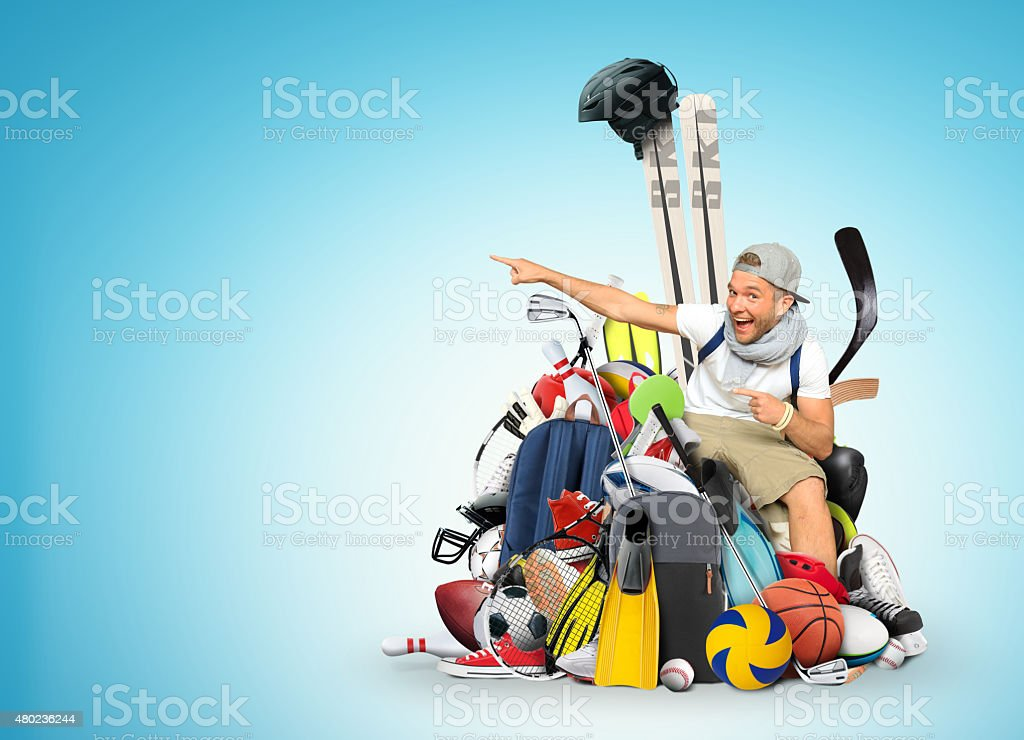 Guy and sports equipment stock photo