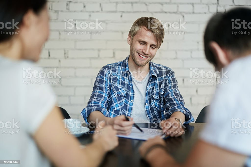 Guy at interview stock photo
