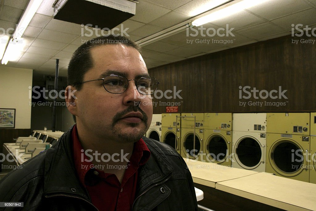 Guy at the Laundromat royalty-free stock photo