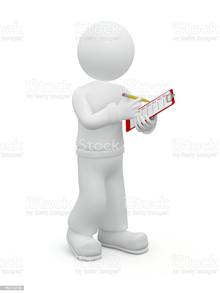 3D guy checking checklist. royalty-free stock photo