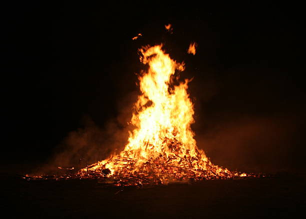 Guy Fawkes bonfire with large flames stock photo