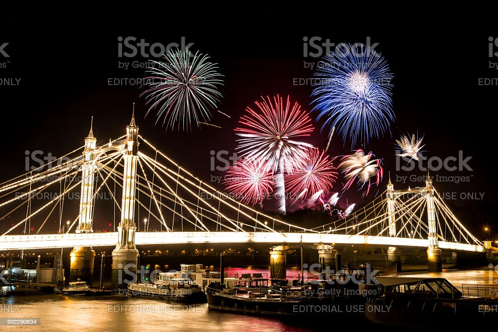Guy Fawkes Fireworks seen over Albert Bridge stock photo