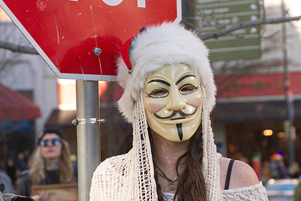 guy fawks mask of mardi gras - guy fawkes mask stock photos and pictures