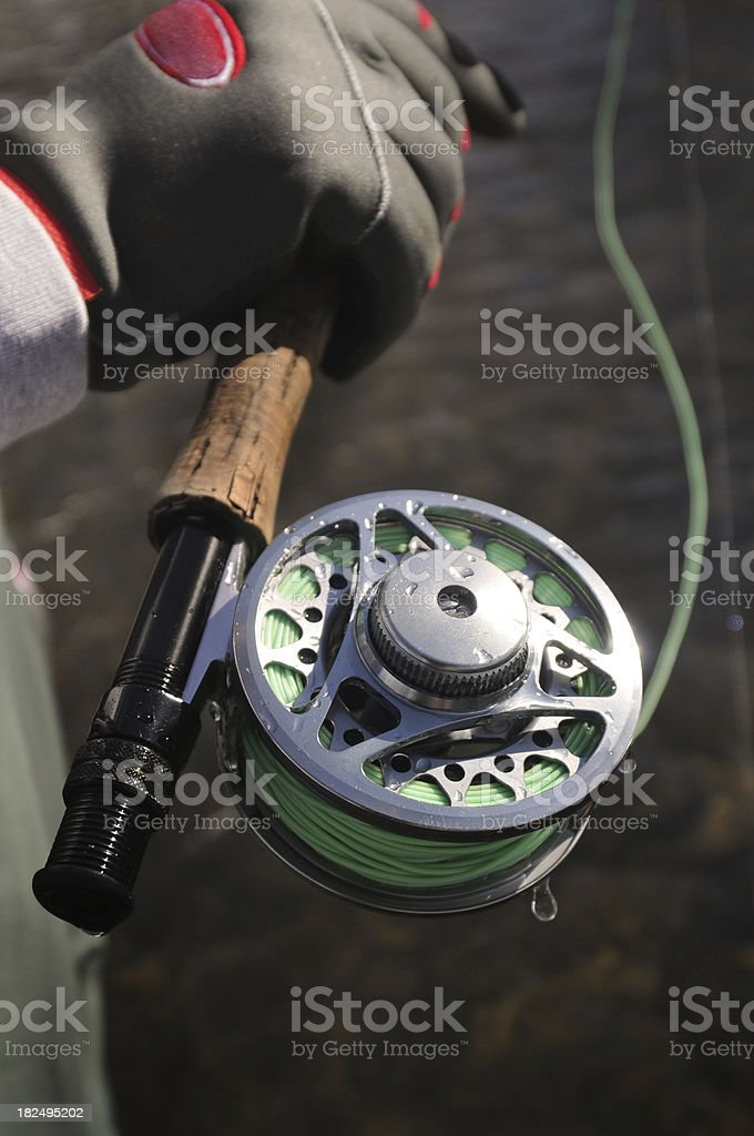 Guy holding fly rod and reel stock photo