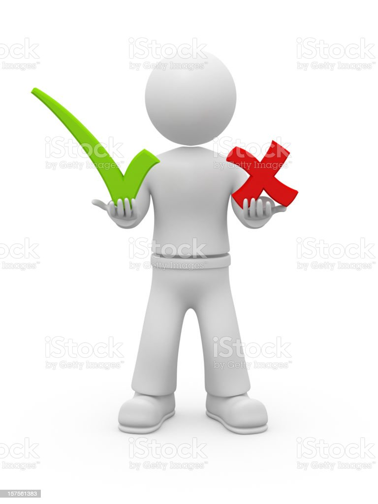 3D guy holding OK and NO chekmarks. royalty-free stock photo