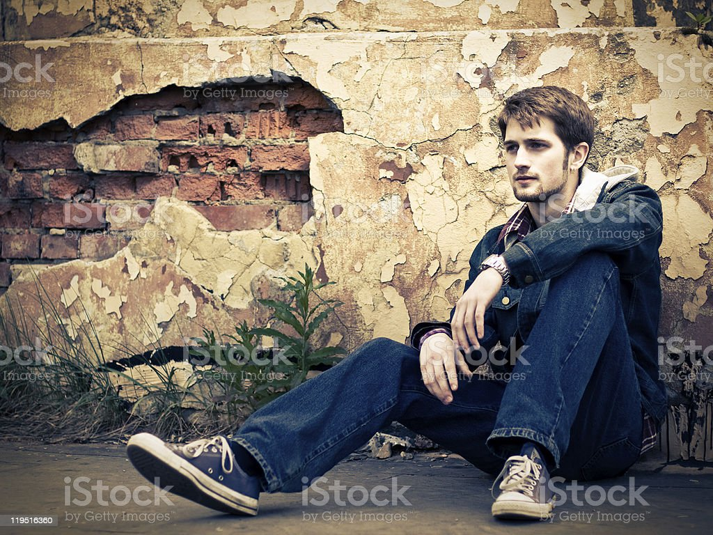 Guy in jeans clothes royalty-free stock photo
