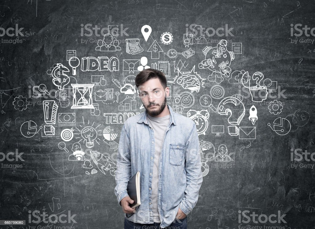 Guy in jeans shirt and business idea royalty free stockfoto