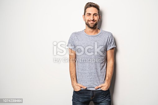 guy in studio white background, great looking