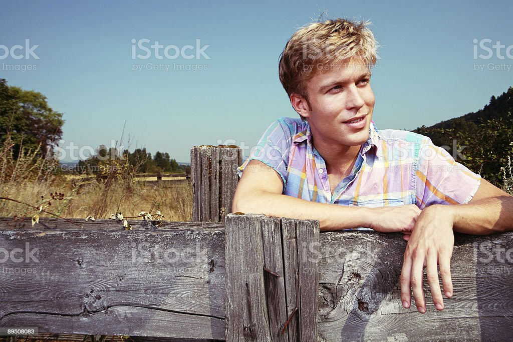 Guy Outdoors in Rural Space royalty-free stock photo