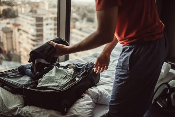 Guy packing stock photo