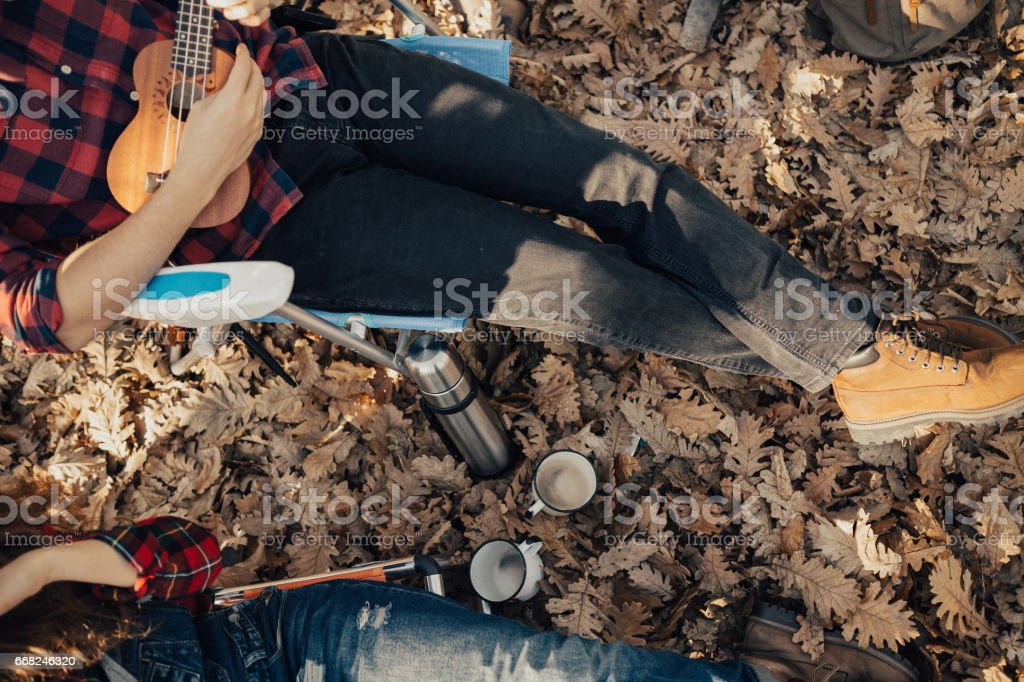 Guy playing ukulele in the field of fallen yellow leaves foto stock royalty-free
